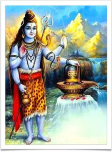 One of the three main God, Lord Shiva, with one of his symbols.